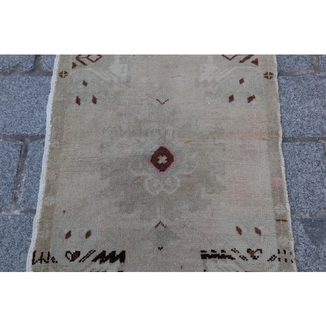 Vintage Turkish Muted Colour Carpet - 3' 5'' X 1' 8'' For Sale - Image 9 of 11
