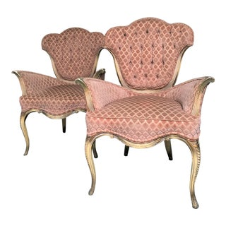 1940s Hollywood Glam Grosfeld House Winged Fireplace Armchairs - a Pair