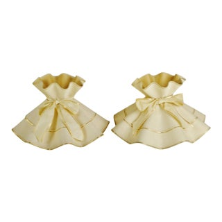 Vintage Ruffled Fabric Formed lamp shades - a Pair For Sale