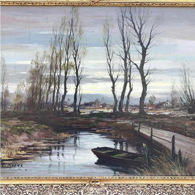 Antique Framed Oil Painting on Canvas Signed T. Moens For Sale - Image 11 of 11
