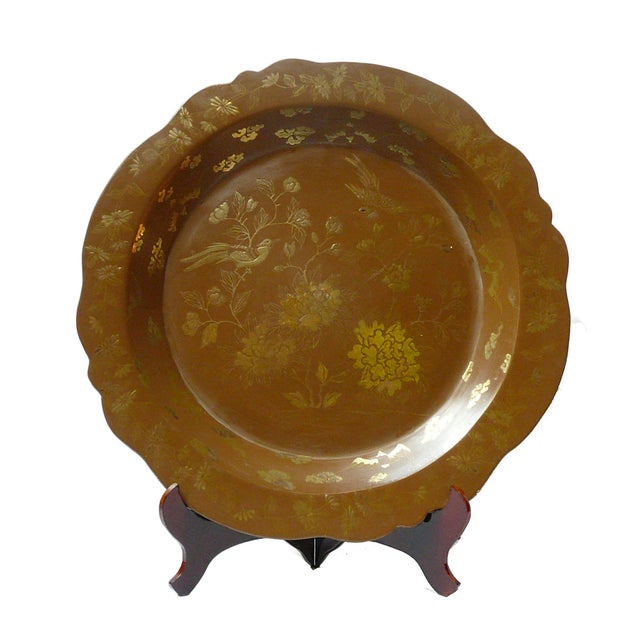 Chinese Brown & Gold Lacquer Plate - Image 1 of 5