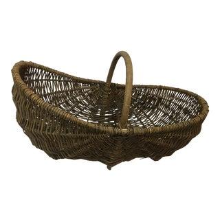 French Vineyard Wicker Basket For Sale