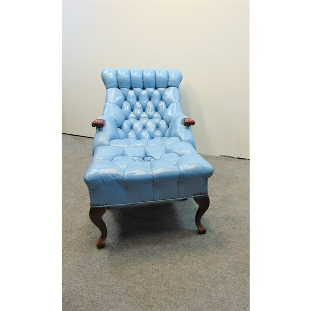 Traditional Chesterfeild Light Blue Leather Lounge Chair & Ottoman For Sale - Image 3 of 8