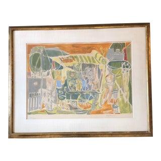 Original Francois Baron-Renouard Vintage Lithograph Flower Market For Sale