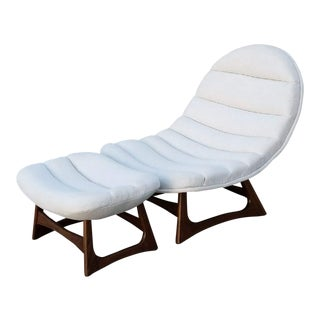 Mid-Century Style Scoop Lounger With Ottoman - A Pair