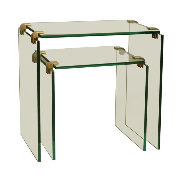Mid Century Modern Floating Glass & Brass Set 2 Nesting Tables For Sale - Image 13 of 13