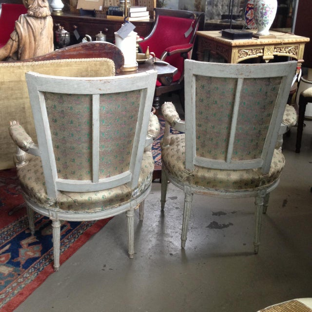 Pair of late 18th Century (1770-90) French, hand carved, hand made wood pin construction Louis XVI fauteuils. Marked as...