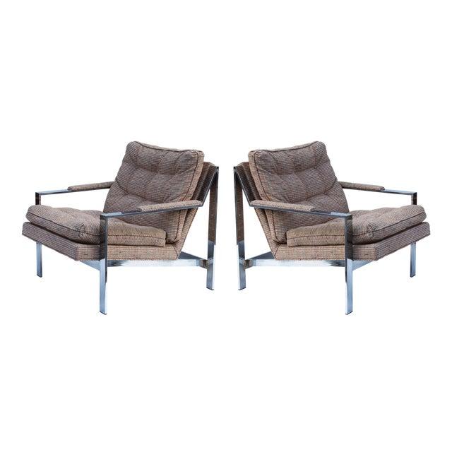 Cy Mann Chrome Flatbar Lounge Chairs, Pair For Sale