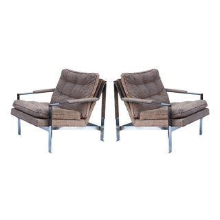 Milo Baughman Chrome Flatbar Lounge Chairs, pair