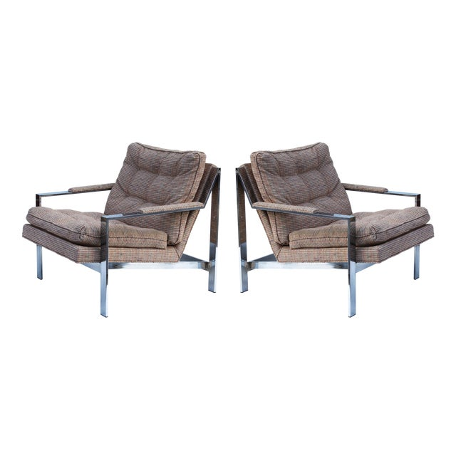 Milo Baughman Chrome Flatbar Lounge Chairs, pair - Image 1 of 3