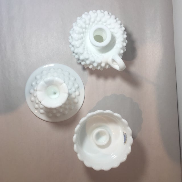 Fenton Hobnail Milk Glass Candle Holders - Set of 3 For Sale - Image 5 of 7