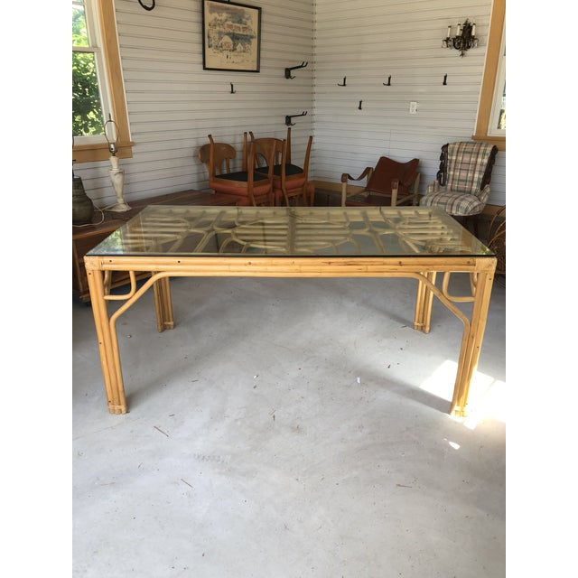 Vintage Bamboo & Glass Top Dining Table For Sale - Image 11 of 11