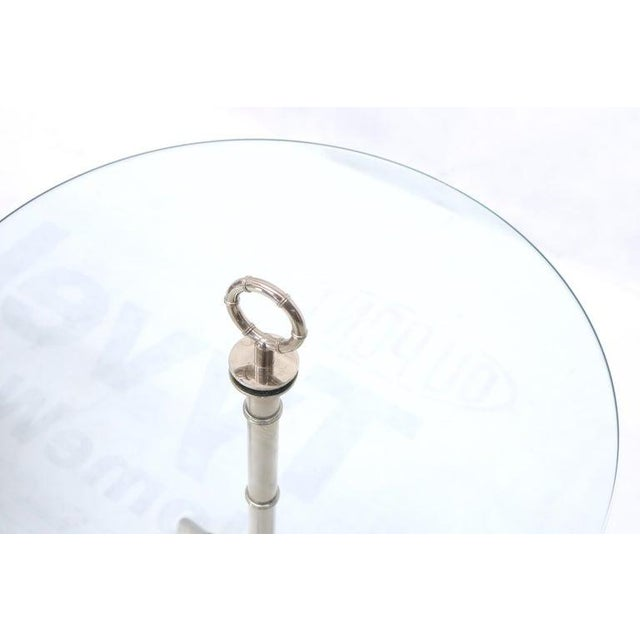 Circular Glass Top Heavy Solid Nickel-Plated Accent Side Center Occasional Table For Sale - Image 11 of 13