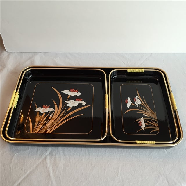 Black Lacquered Trays - Set of 3 - Image 5 of 11