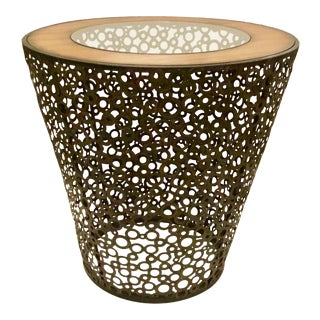 Transitional Alicia Glass and Wood Side Table