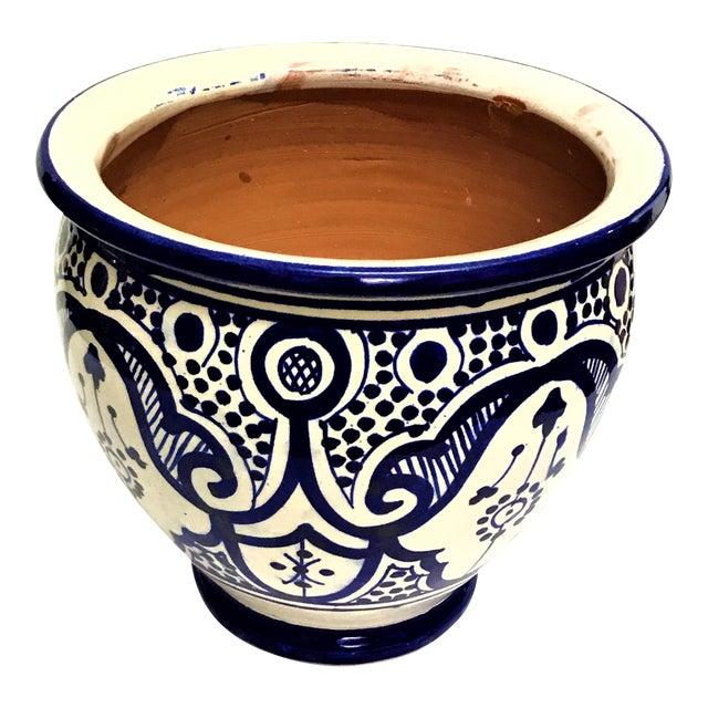 Moroccan Blue/White Ceramic Flower Pot For Sale