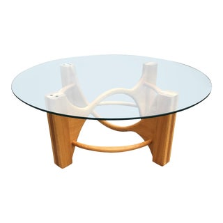 Mid-Century Modern Bespoke Sculptural Bentwood Base Heavy Round Glass Top Coffee Table For Sale