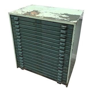 Mid 20th Century Vintage Industrial Metal Flat File Letterpress Cabinet For Sale