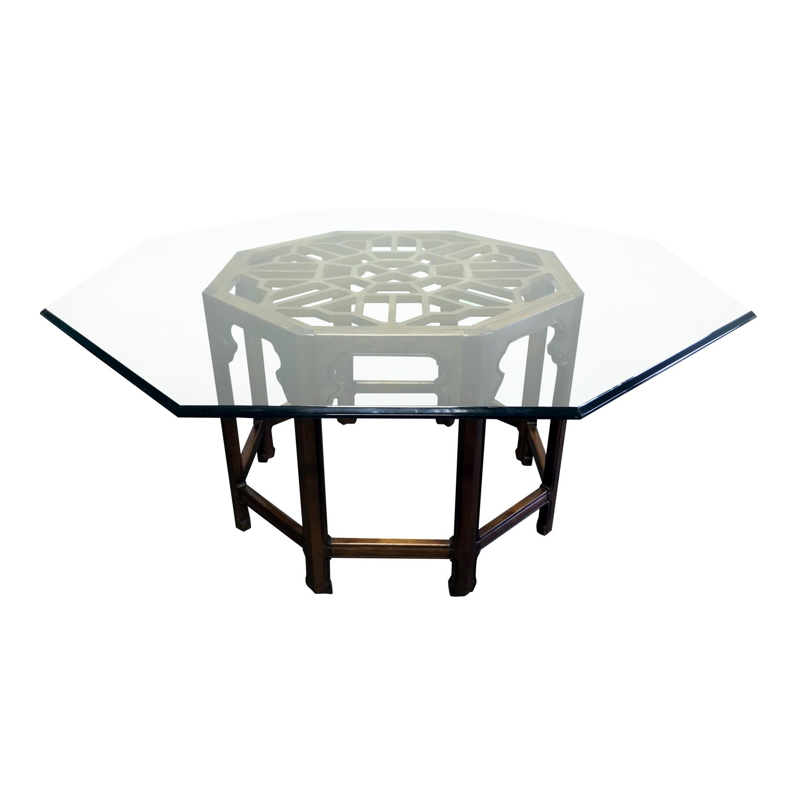 Thomasville Mystique Asian Chinoiserie Octagonal Glass Top Dining Table -
