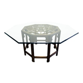 THOMASVILLE Mystique Asian Chinoiserie Octagonal Glass Top Dining Table