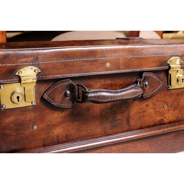 Leather trunk on stand For Sale In West Palm - Image 6 of 11