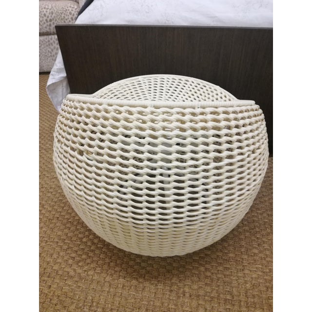 2010s Chinoiserie Palacek Outdoor Open Weave Wicker Swivel Stool For Sale - Image 5 of 9