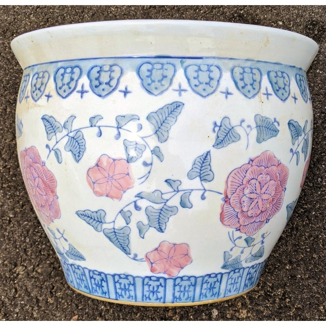 20th C Chinese Painted & Glazed Porcelain Roses Floral Fish Bowl Planter For Sale In New York - Image 6 of 11