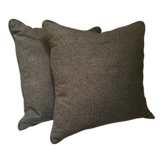 Gray Weave Custom Pillows - a Pair For Sale
