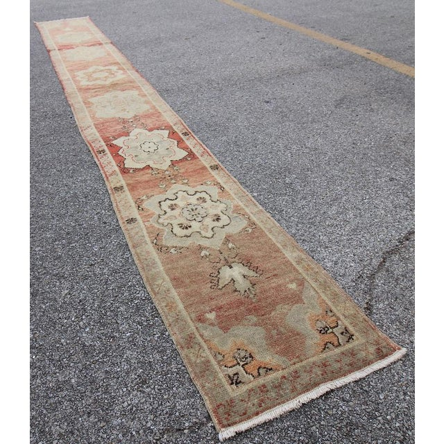 Islamic Tribal Antique Turkish Oushak Hand Knotted Rug - 1'8 X 12'9 For Sale - Image 3 of 6