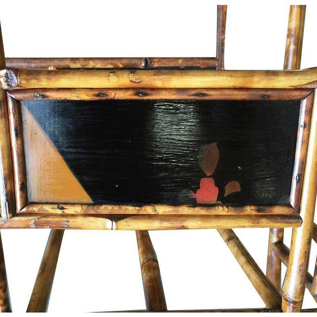 Restored Aesthetic Movement Large Two-Tier Tiger Bamboo Magazine Rack W/ Divider For Sale In Los Angeles - Image 6 of 7