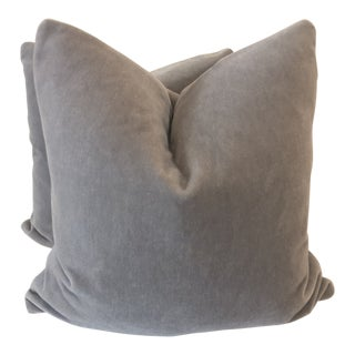 "Gray Mohair 22"" Pillows-A Pair For Sale"