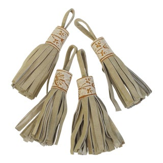 Fortuny Tan Leather Tassels - Set of 4 For Sale