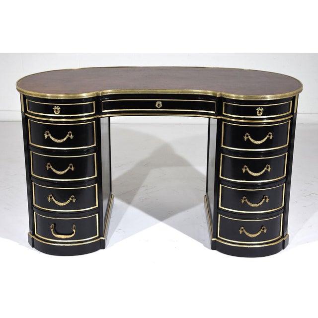 Antique French Regency-style Kidney Desk - Image 3 of 10