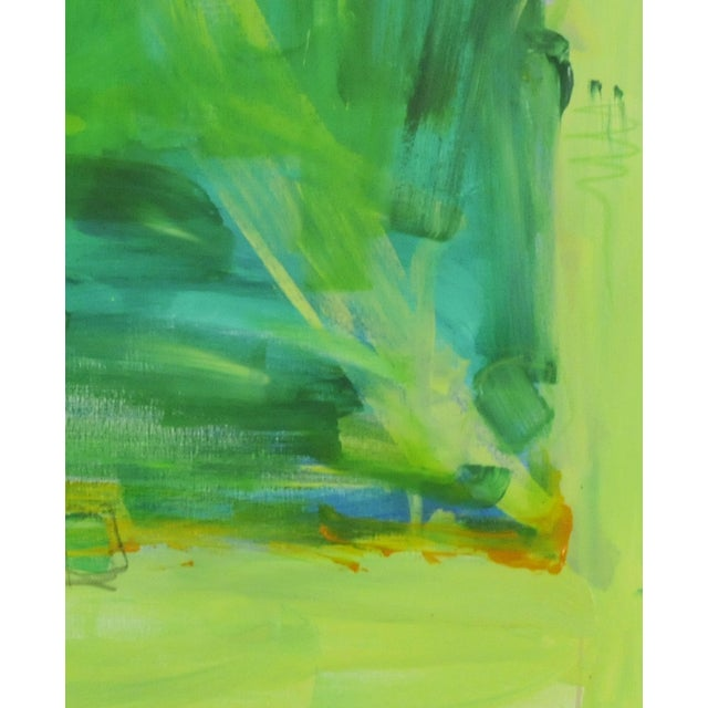 Original acrylic abstract painting with a mix of yellows and greens, With a mixture of matte to semi-matte with varied...