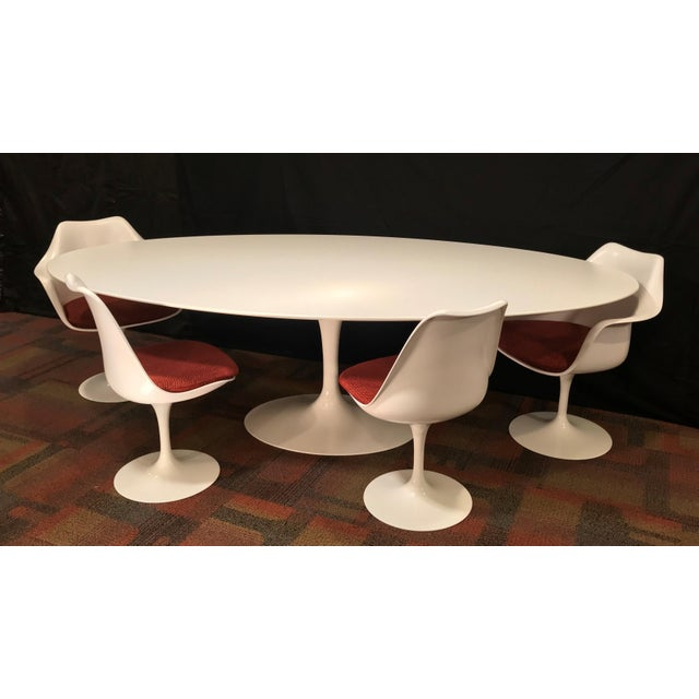 Eero Saarinen Oval Dining Table & Swivel Chairs - 5 Pieces. Mid-Century, Knoll For Sale - Image 12 of 12