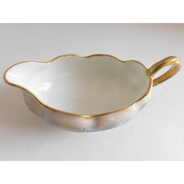 Limoges, France Limoges Hand-Painted Porcelain Footed Creamer/Saucer For Sale - Image 4 of 11