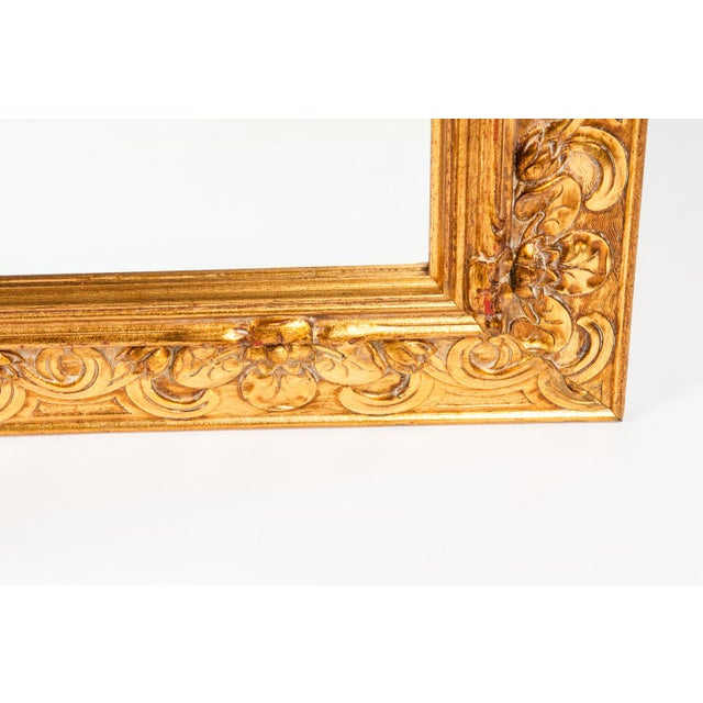 Mid 20th Century Vintage Italian Gilded Wood Framed Hanging Bevelled Mirror For Sale - Image 5 of 10