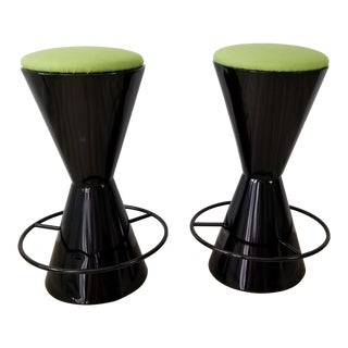 Vintage Handmade Drum Shape Steel Bar Stools - a Pair For Sale