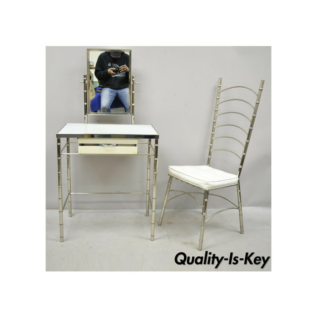 Mid 20th Century Hollywood Regency Faux Bamboo Metal Vanity With Chair-a Pair For Sale - Image 13 of 13