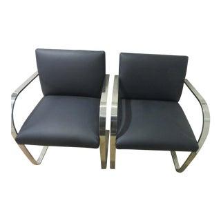 Mies Van Der Rohe Art Deco Flat Bar Stainless Steel Chairs - a Pair