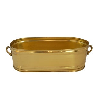 1960s Hollywood Regency Brass Oblong Planter With Handles For Sale