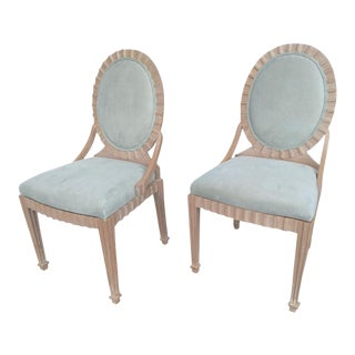 20th Century Art Deco John Hutton Fluted Wood Side Chairs - a Pair For Sale