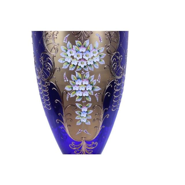 "Pasargad N Y Antique Cobalt Blue Cased Art Glass Vase With Enameled Flowers Measures: 7.5"" X 7.5"" X 21"""