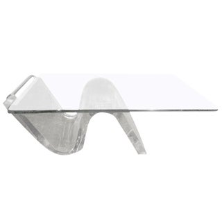 1970's Mid Century Modern Acrylic Cantilevered Cocktail Table For Sale