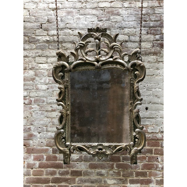 Rare 18th Century Louis XV Mirror Silver Leaf Gilded For Sale - Image 11 of 11