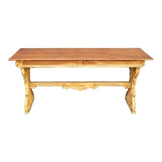 Spanish Colonial Carved Trestle Table For Sale