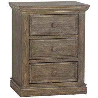 3 Drawer Grey Brown Nightstand For Sale