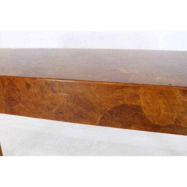 1970s Italian Burl Wood Patch Veneer Work Console Sofa Table For Sale - Image 4 of 14