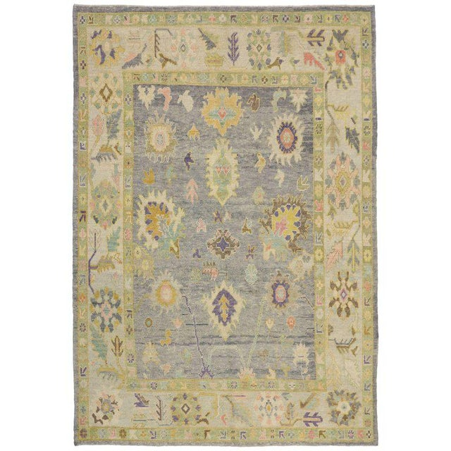 Contemporary Turkish Oushak Rug in Pastel Colors with Tribal Boho Chic Style For Sale - Image 9 of 9