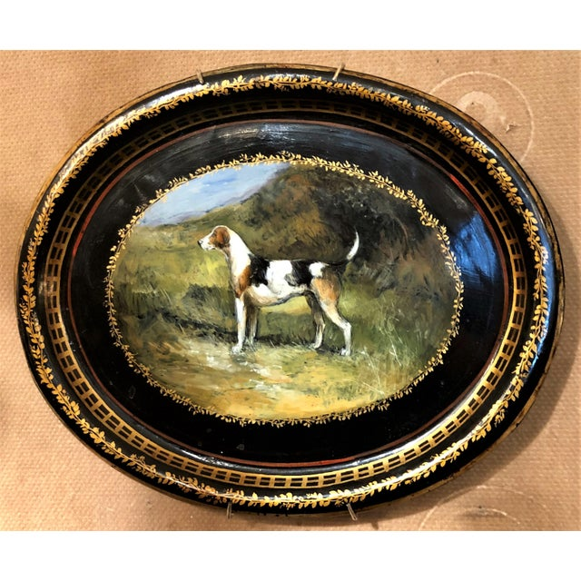 Pair Antique Victorian Painted Tole Trays, Circa 1890-1900.